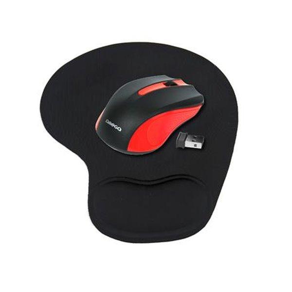 OMEGA bezdrátová myš OM-419, 1000DPI, červená + gelová podložka