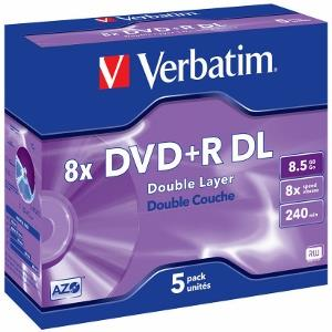 Verbatim DVD+R DL [ jewel case 5 | 8.5GB | 8x | matte silver ]