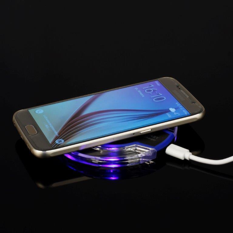 GT Q2 LED bezdrátová indukční nabíječka Qi, černo-modrá