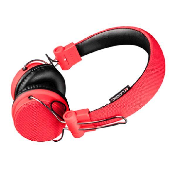 Modecom Logic BT-1 Bluetooth headset, bezdrátová sluchátka s mikrofonem a dotykovým ovládáním, červená