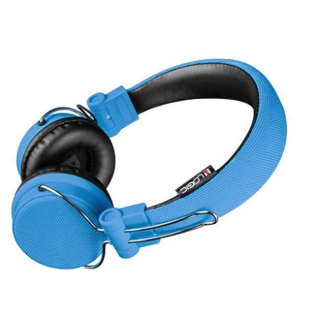 Modecom Logic BT-1 Bluetooth headset, bezdrátová sluchátka s mikrofonem a dotykovým ovládáním, modrá