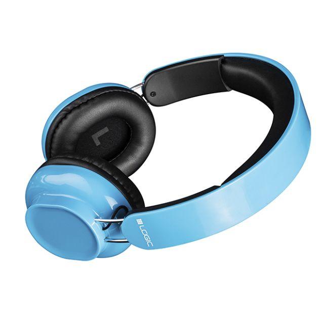 Modecom Logic BT-2 Bluetooth headset, bezdrátová sluchátka s mikrofonem a dotykovým ovládáním, modrá