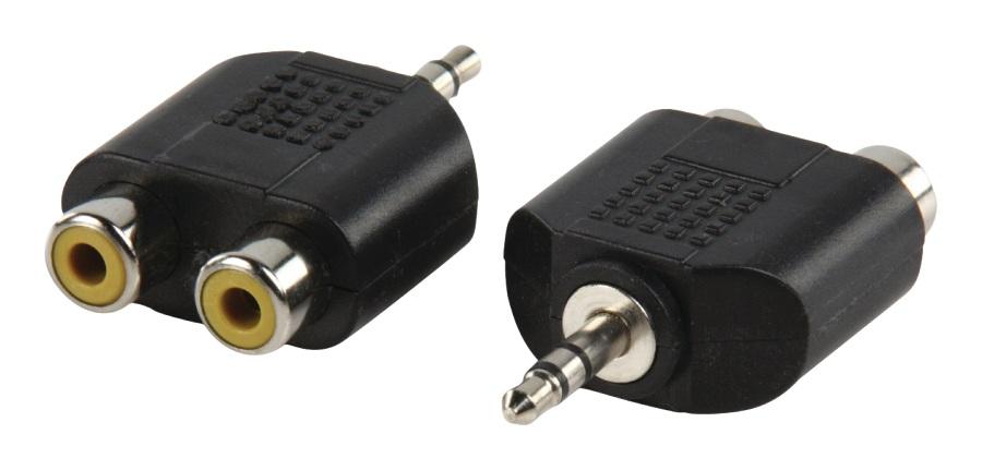 Valueline AC-010 - Stereo Audio adaptér 3.5mm zástrčka - 2x CINCH zásuvka, černá
