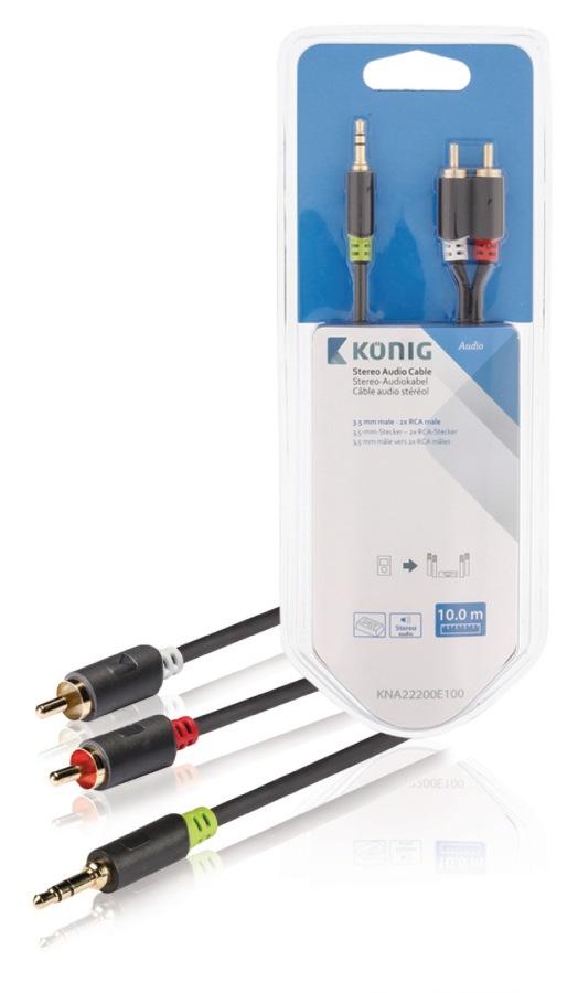 König KNA22200E100 - Stereo Audio Kabel 3.5mm zástrčka - 2x CINCH zástrčka 10.0 m Antracit
