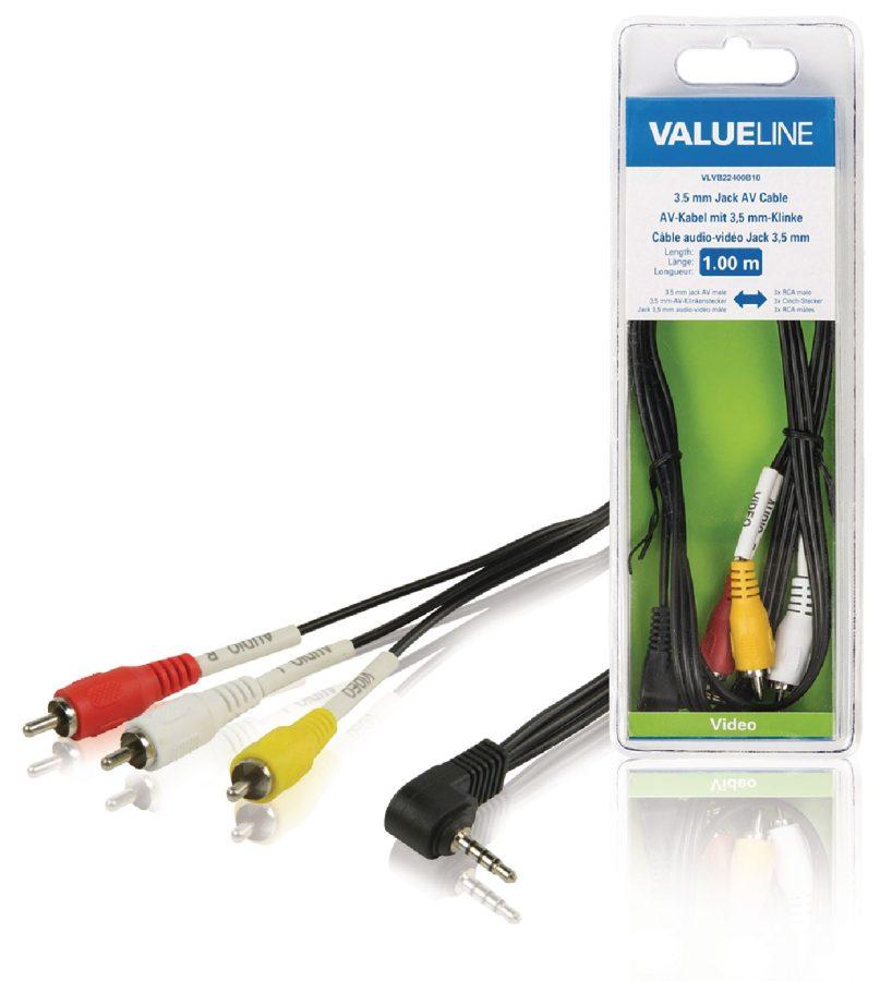 Valueline VLVB22400B10 - Komponentní Video Kabel 3.5mm zástrčka - 3x CINCH zástrčka 1.00 m, černá