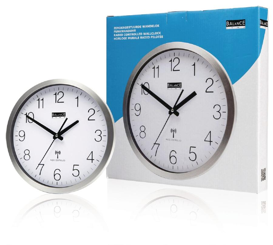 Balance HE-CLOCK-89 - Rádiem Řízené Nástěnné Hodiny 30 cm Analogový Stříbrná/Bílá