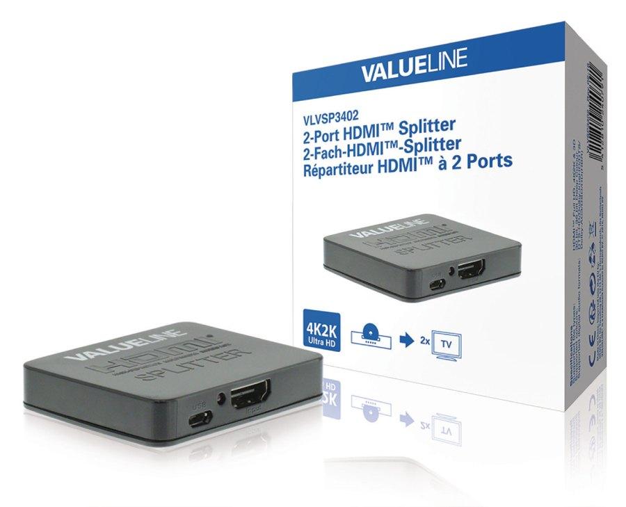 2-Port HDMI Rozbočovač Černá