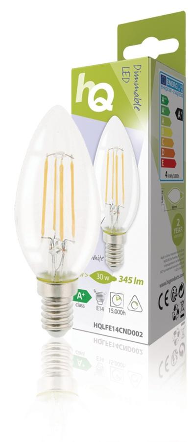 HQ HQLFE14CND002 - LED Retro Vláknová žárovka E14 Stmívatelná Svíčka 4 W 345 lm 2700 K