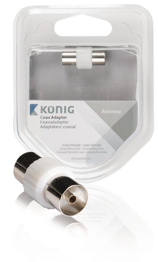 König KNS40941W - Koaxiální adaptér Koax zásuvka - Koax zásuvka Bílá