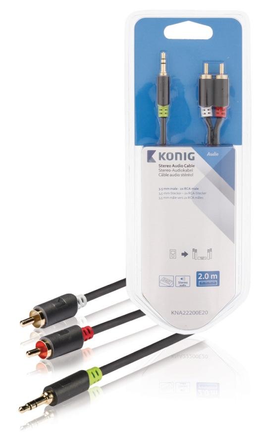König KNA22200E20 - Stereo Audio Kabel 3.5mm zástrčka - 2x CINCH zástrčka 2.00 m Antracit