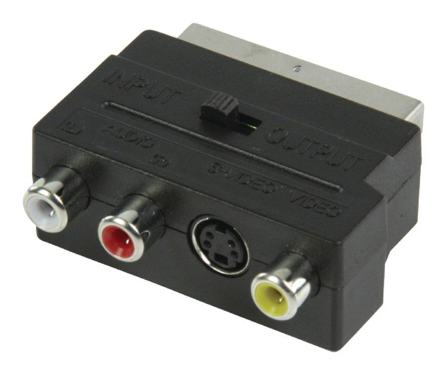 Valueline VLVP31902B - adaptér SCART Vyměnitelný SCART zástrčka - S-Video zásuvka + 3x RCA zásuvka, černá