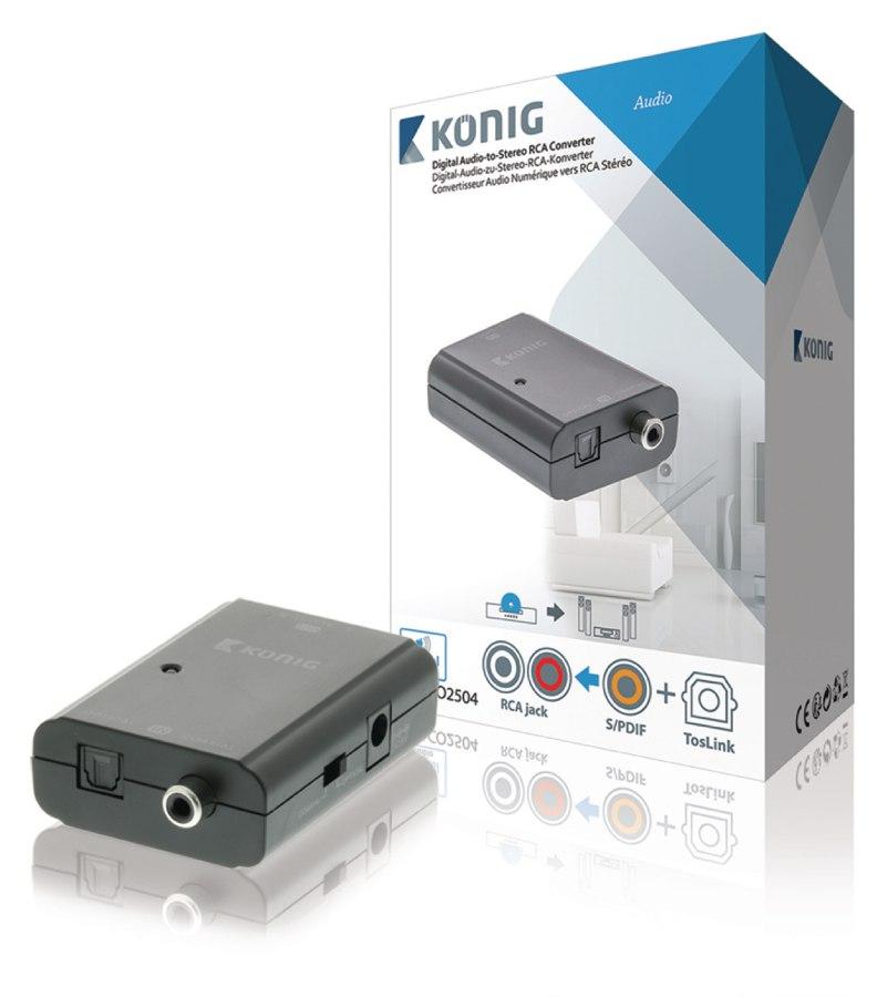 König KNACO2504 - Převodník Digitálního Audia 1x Toslink zásuvka + 1x SPDIF (RCA) zásuvka - 2x RCA zásuvka Tmavě Šedá