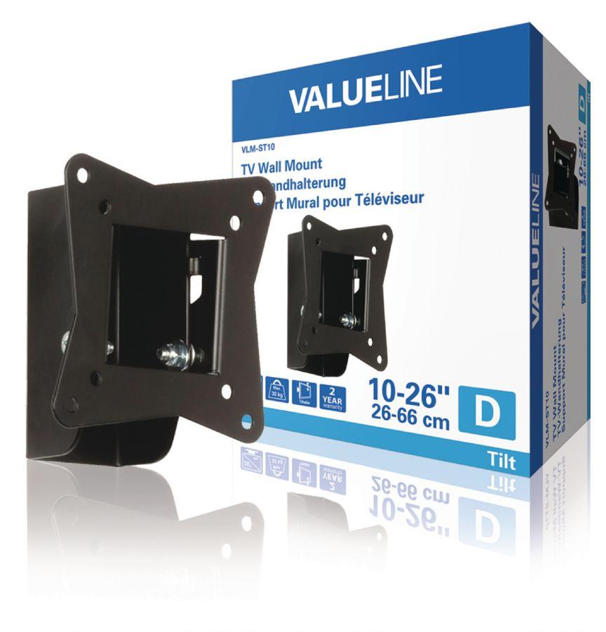 """Valueline Nástěnný držák televizoru, sklopný, 10 až 26"""" / 25 až 66 cm, 30 kg"""