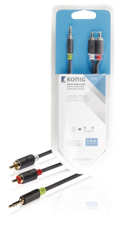 König KNA22200E30 - Stereo Audio Kabel 3.5mm zástrčka - 2x CINCH zástrčka 3.00 m Antracit