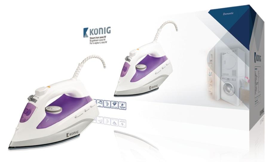 König KN-SI2000 - Napařovací Žehlička 2000 W 300 ml Fialová/Bílá