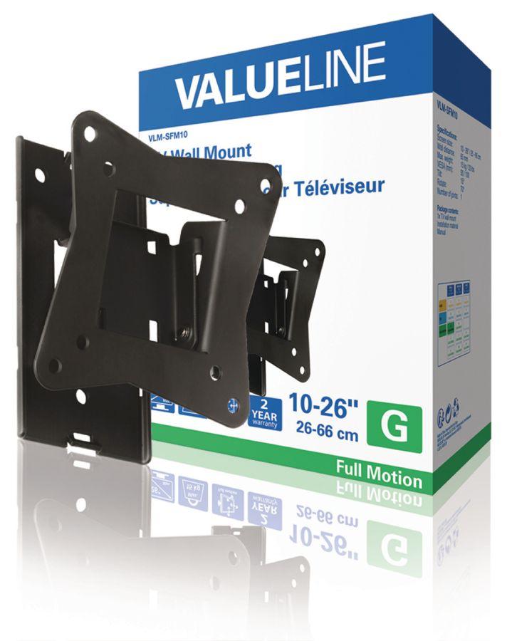 """Valueline nástěnný držák televizoru, plně nastavitelný, 10 až 26"""" / 25 až 66 cm, 15 kg - VLM-SFM10*"""