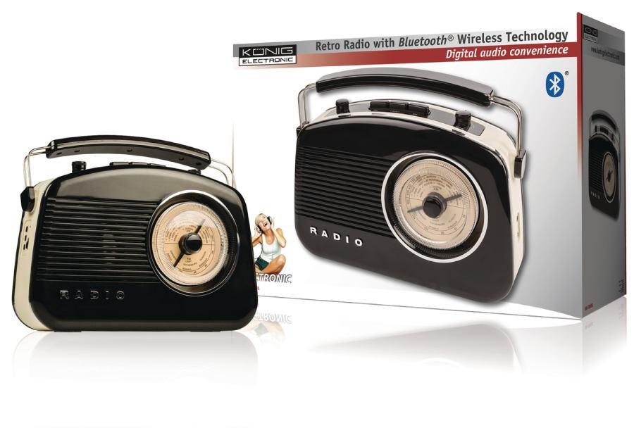 König HAV-TR800BL - Přenosné Bluetooth rádio AM / FM AUX, černá