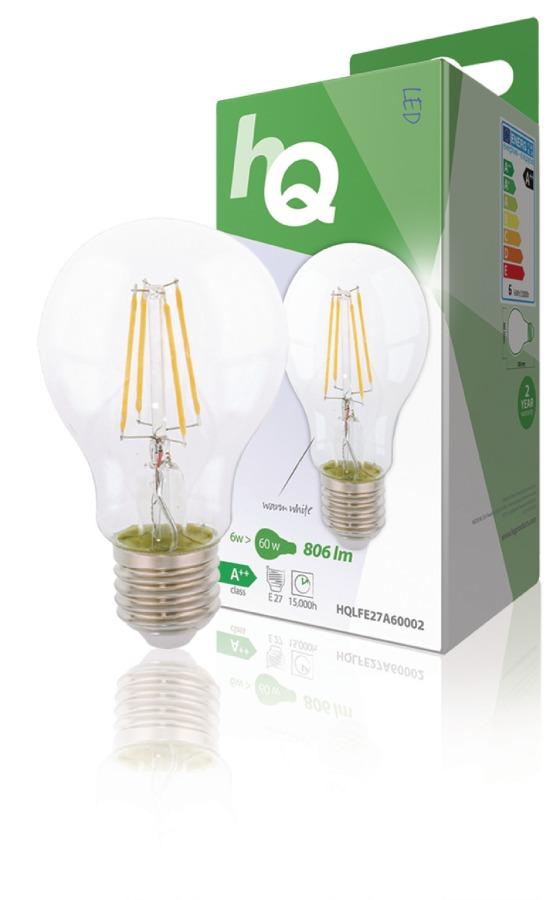 HQ HQLFE27A60002 - LED Retro Vláknová žárovka E27 A60 6 W 806 lm 2700 K
