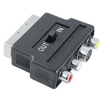 Hama SCART vidlice - 3 cinch + S-video redukce, IN/OUT přepínač, sáček