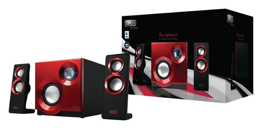 Sweex reproduktory 2.1, 60W Purephonic Red