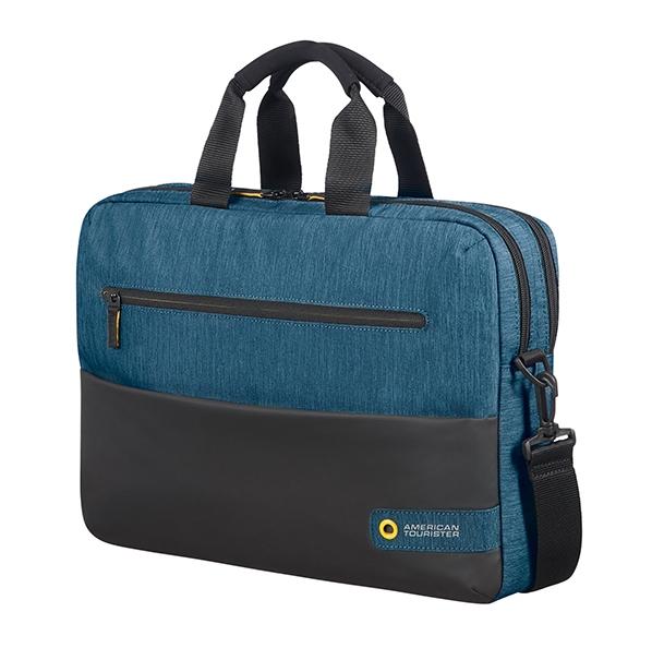 "American Tourister CITY DRIFT LAPTOP BAG 15.6"" BLACK/BLUE"
