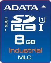 ADATA SD karta Industrial,MLC,8GB, -40 až 85°C(čtení: 33MB/s; zápis 10MB/s),bulk