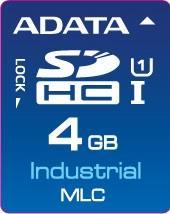 ADATA SD karta Industrial,MLC, 4GB, 0 až 70°C(čtení: 33MB/s; zápis 10MB/s),bulk