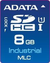 ADATA SD karta Industrial,MLC, 8GB, 0 až 70°C (čtení: 33MB/s; zápis 10MB/s),bulk