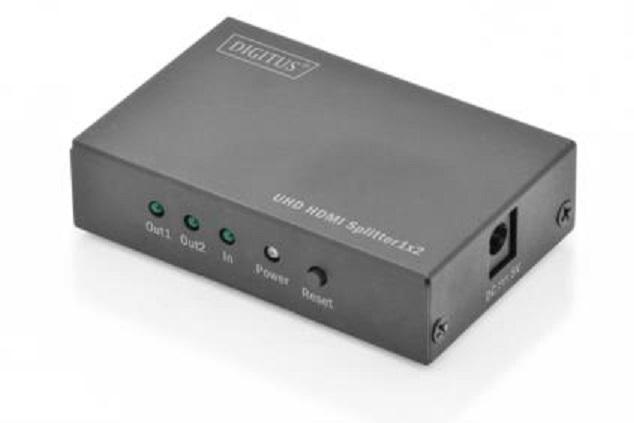 Digitus 4K HDMI 2.0 rozbočovač, 1x2, UHD 4K2K / 60Hz, 3D Full High Speed HDMI, kovový kryt, černá