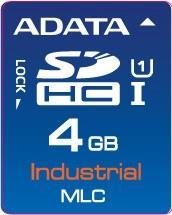 ADATA SD karta Industrial,MLC,4GB, -40 až 85°C(čtení: 33MB/s; zápis 10MB/s),bulk