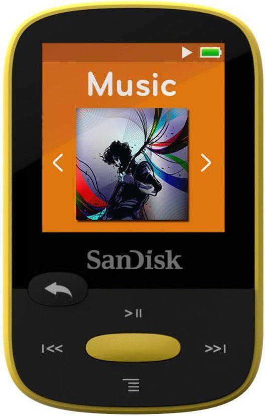 Sandisk CLip Jam MP3 Player 4GB, microSDHC, Radio FM, yellow