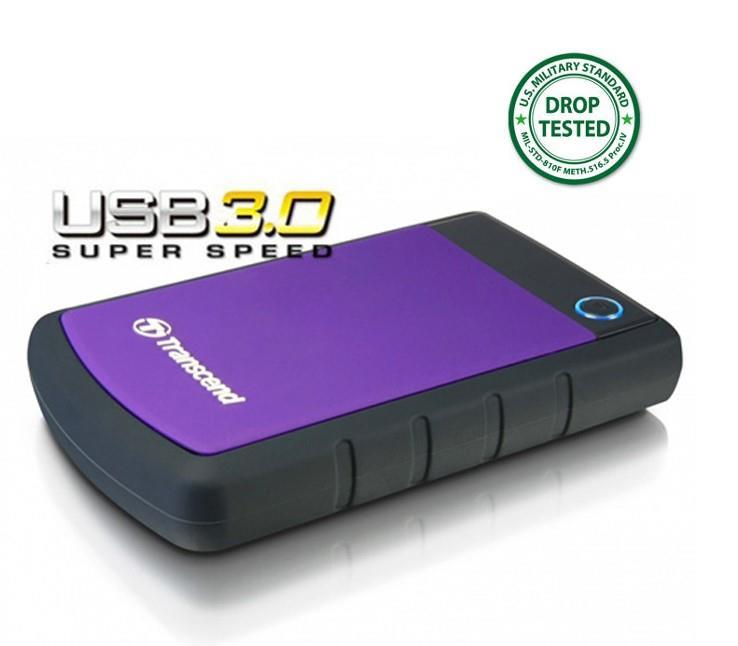 Transcend StoreJet 25H3P 1TB ext. HDD 2.5'' USB 3.0, SW Elite, antishock, OTB