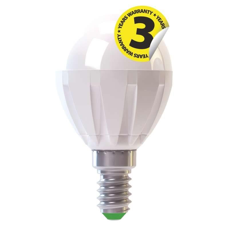 Emos LED žárovka MINI GLOBE, 6W/43W E14, WW teplá bílá, 520 lm, Premium A+