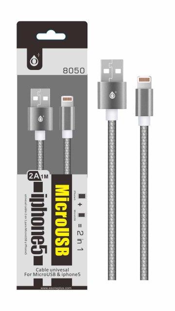 Dat.kab.PLUS 8050 UNI pro MicroUSB+lightning,metal