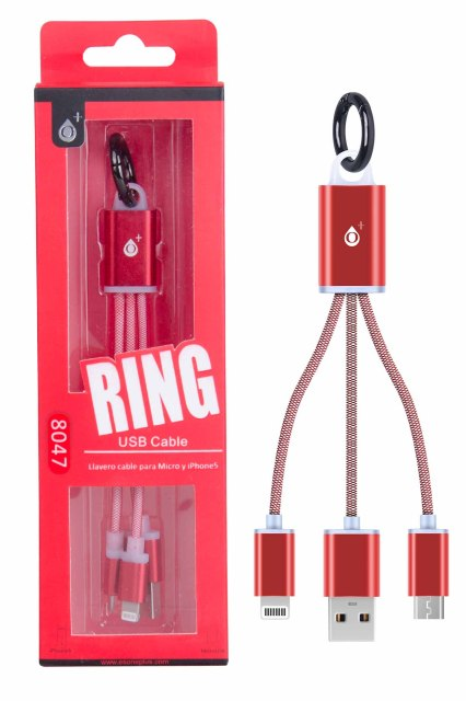 Aligator datový kabel PLUS 8047 2v1, MicroUSB+ lightning, červený, přívěšek na klíče