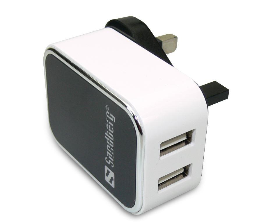 Sandberg dual USB AC adaptér, max 2000mA, UK standard