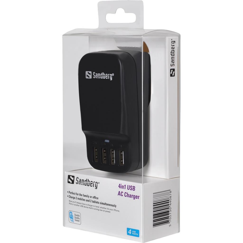 Sandberg USB AC napájecí adaptér, 4v1, EU + UK standard, černý