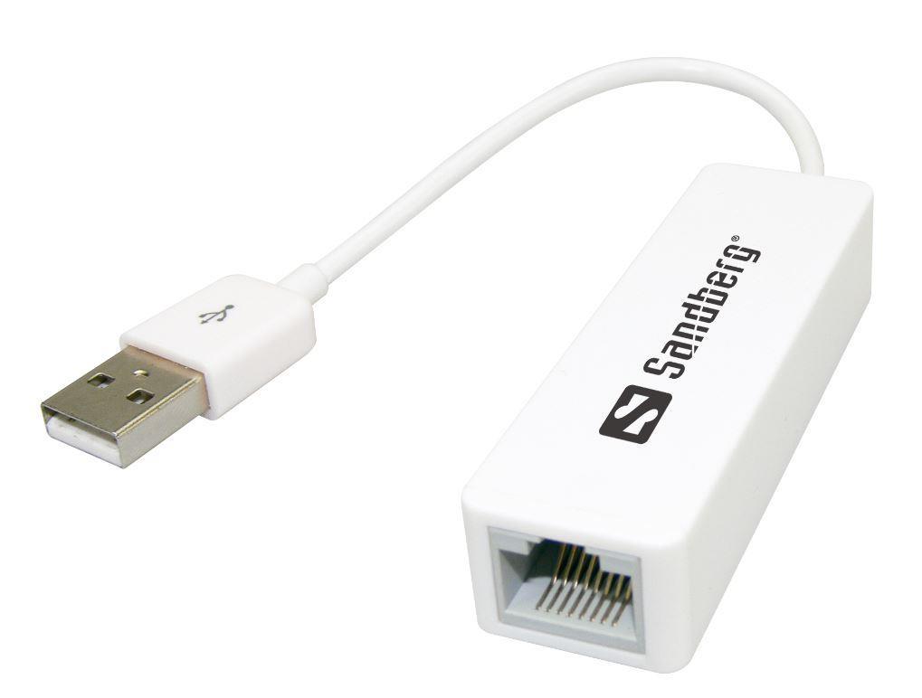 Sandberg konvertor USB 2.0 samec > RJ45 samice, bílý