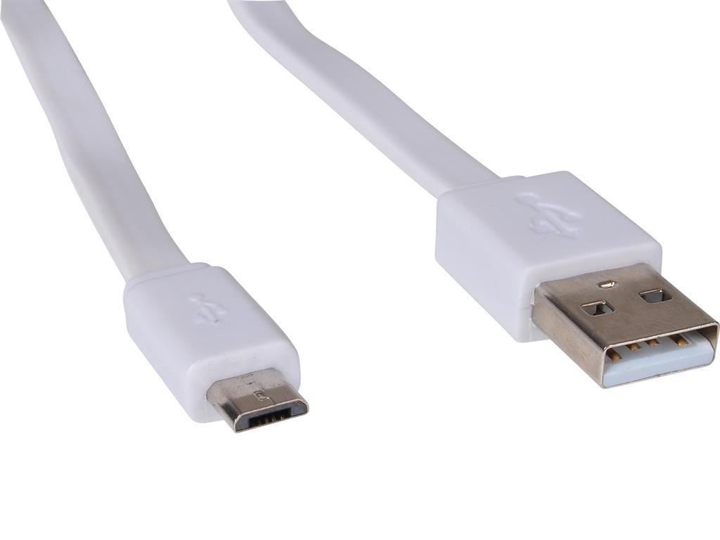 Sandberg kabel USB-A samec > Micro USB samec, plochý, 1m, bílý