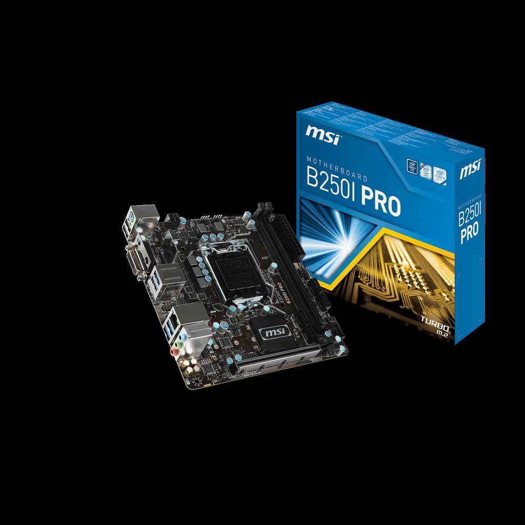 MSI B250I PRO, B250, LGA1151, 2xDDR4, PCI-Ex16, M.2, 4SATA3