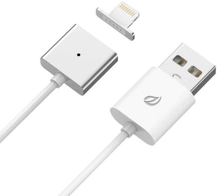 Lightning magnetický nabíjecí/datový kabel (ekv.Znaps), jedna koncovka, 1m, kov/plast, stříbrn