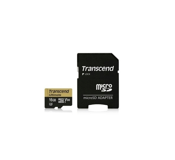 Transcend 16GB microSDHC UHS-I U3M Ultimate (V30) MLC paměťová karta (s adaptérem), 95MB/s R, 60MB/s W