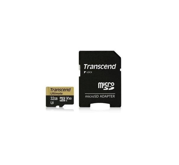 Transcend 32GB microSDHC UHS-I U3M Ultimate (V30) MLC paměťová karta (s adaptérem), 95MB/s R, 60MB/s W