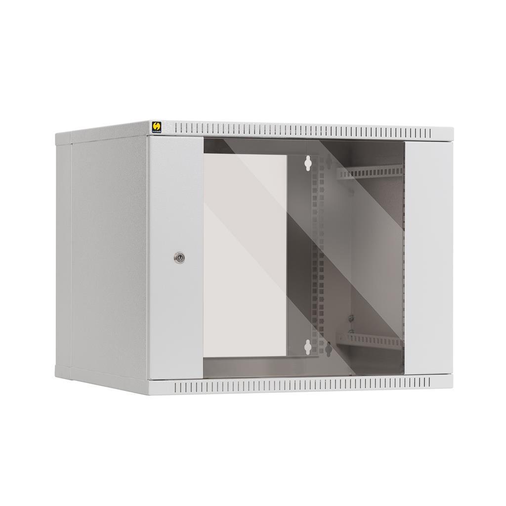 Netrack závěsný rack 19'' 9U/550 mm, skleněné dveře, dvojdílný, barva popelavá