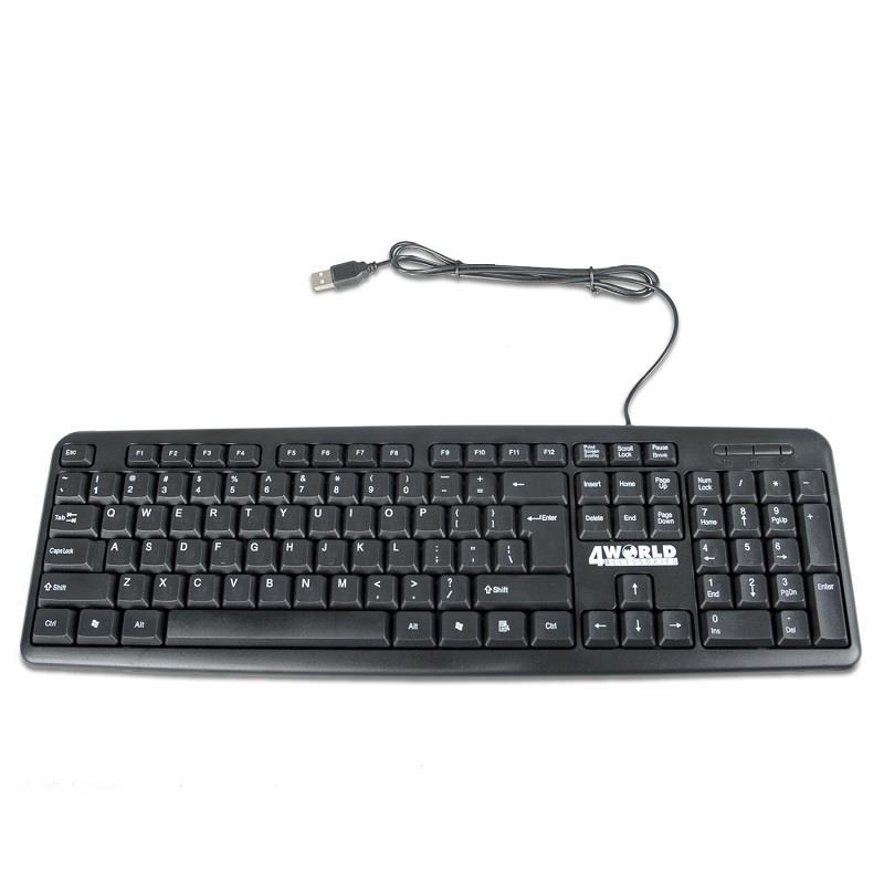 4World Počítačová klávesnice na USB, barva černá, US