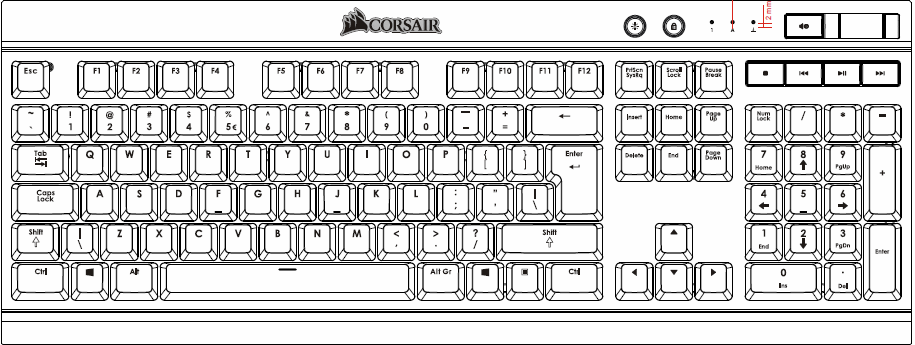 Corsair Mechanical Gaming Keyboard K70 LUX - Blue LED - Cherry MX RED(EU)