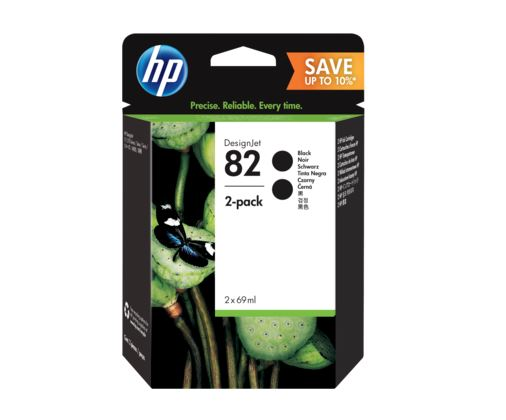 HP 82 69ml Black Ink Crtg 2-Pack