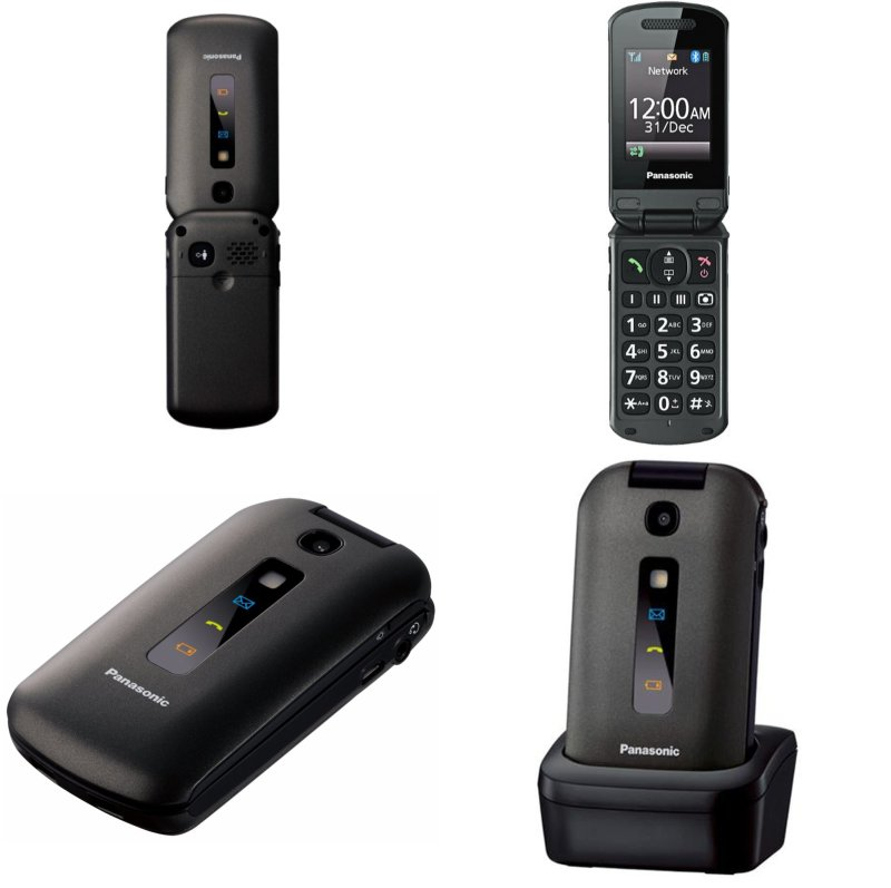 Panasonic KX-TU329FXME Snadno použitelný mobilní telefon + Panasonic RP-HJE126E-A, Blue