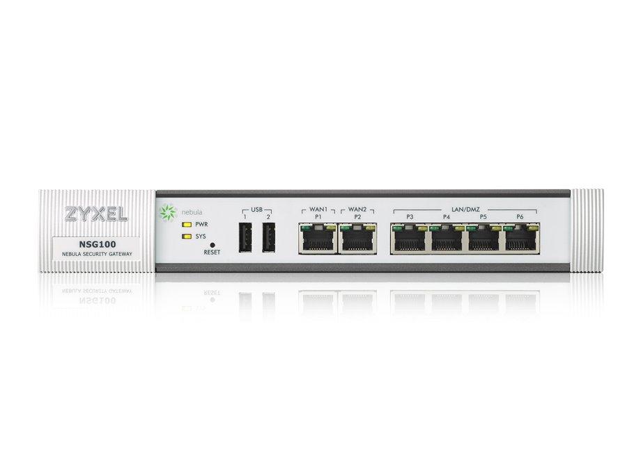 Zyxel NSG100, Nebula Cloud Manage Security Gateway, 2x WAN/4x LAN, Optional: IDP, fanless