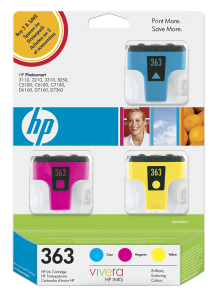 HP CB333EE Ink Cart No.363, cyan 4ml, magenta 3,5ml, yellow 6ml